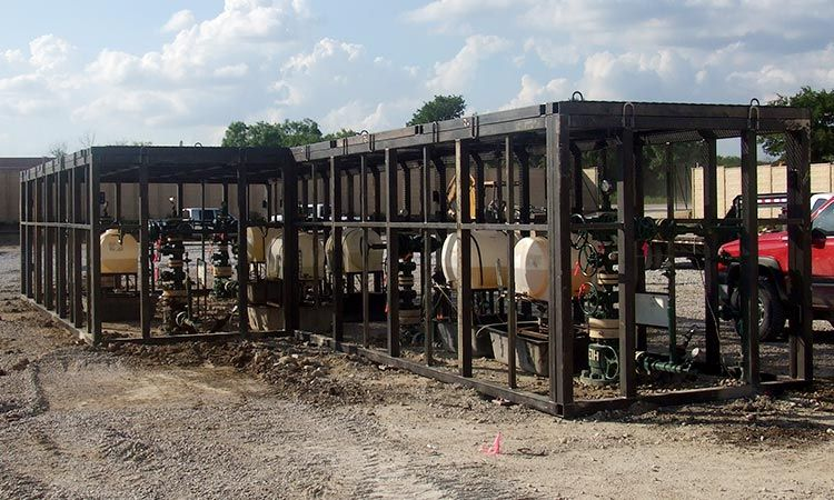 wellhead enclosures in area of close proximity wells