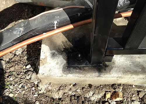 air conditioner enclosure leg can be cemented or bolted down